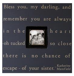 Painted Wood Rustic Photo Box - Bless You My Darling - Charcoal
