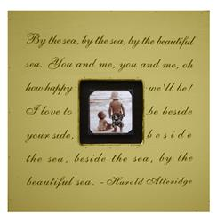 Painted Wood Rustic Photo Box - By The Sea - Camel