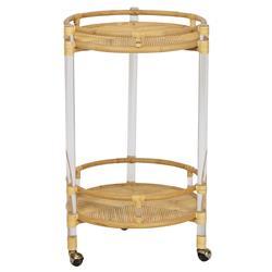 Selamat Sea Cliff Coastal Clear Acrylic Natural Rattan Brass Wheel Cap Bar Cart