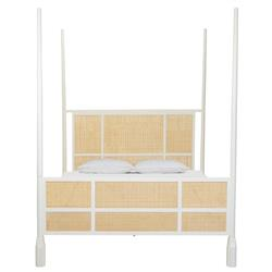 Holly Coastal Beach Brown Woven Cane White Wood 4 Poster Bed - Queen