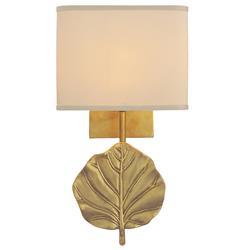 Eden Hollywood Regency Leaf Honey Brass Gold Wall Sconce