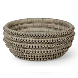 Palecek Kenis Coastal Beach Grey Braided Rattan Bowl