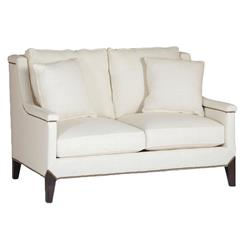 Liam Hollywood Regency Classic Ivory Linen Settee