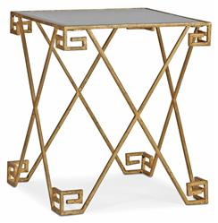Maximus Hollywood Regency Greek Iron Antique Mirror End Table | SCH-270290