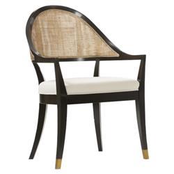 Mid Century Modern Ebony Black Walnut Cane Backing Brass Trim Arm Chair