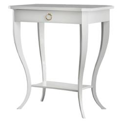 Hannah French Country White Wood Brass Drawer End Table