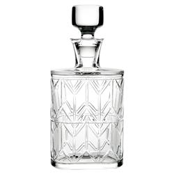 Vista Alegre Avenue Modern Classic Clear Crystal Whiskey Decanter - Set of 5
