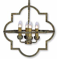 Atwood French Country Quatrefoil Antique Gold Iron Chandelier