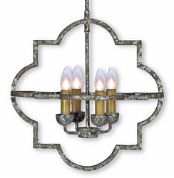 Atlas French Country Quatrefoil Antique Silver Iron Chandelier