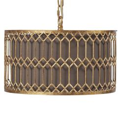 Catalina Hollywood Regency Antique Gold Drum Pendant Light