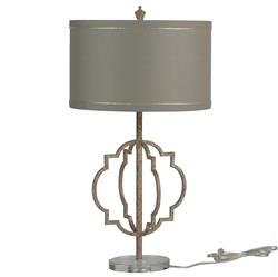 Charlotte French Country Quatrefoil Antique Gold Iron Table Lamp
