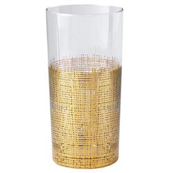 Icicle Hollywood Regency Gold Crosshatch Tall Highball Glasses - Set of 4