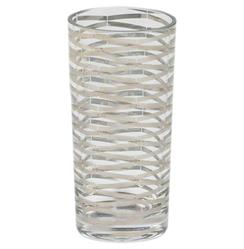 Gilda Hollywood Regency Silver Stripe Tall Highball Glasses - Set of 4 | GV-D6.60004
