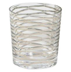 Gilda Hollywood Regency Silver Stripe Short Rocks Glasses - Set of 4 | GV-D6.60003