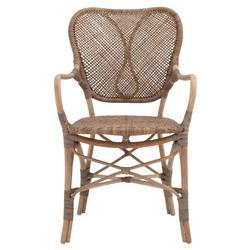 Lisa Coastal Beach Natural Grey Rattan Bistro Dining Arm Chair