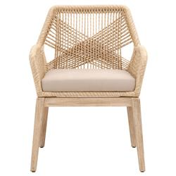 Lorry Coastal Beige Rope Woven Mahogany Dining Arm Chairs - Set of 2