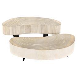 Adrian Coastal Beach Cream Wood Oval Coffee Table