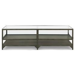 Katren Industrial Loft Tempered Glass Top Grey Iron Frame Coffee Table