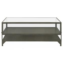 Katren Industrial Loft Tempered Glass Top Grey Iron Square Coffee Table