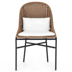 Lily Coastal Beach White Performance Upholstered Woven Outdoor Dining Side Chair