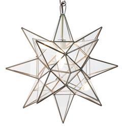 Polaris Hollywood Regency Star Glass Pendant - 12 Inch