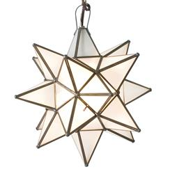 Polaris Hollywood Regency Star Frosted Glass Pendant - 12 Inch