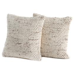 Savanna Modern Classic Cream Loop-Weave Outdoor Throw Pillow - Set of 2