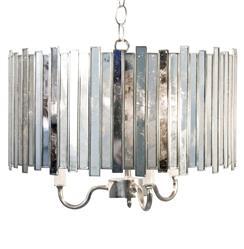 Mirren Hollywood Regency Grand Silver Mirror 3 Light Chandelier