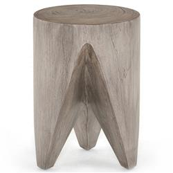 Lydia Modern Classic Grey Solid Teak Round Outdoor End Table