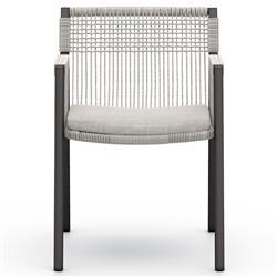 Aubrey Modern Classic Light Grey Performance Dining Arm Chair