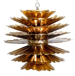 Coronado Mid Century Layered Leaf Gold Iron Pendant