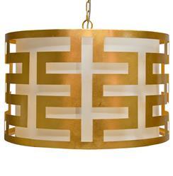 Athena Hollywood Regency Gold 3 Light Pendant Chandelier
