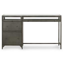 Katren Industrial Loft Grey Iron Tempered Glass Shadow Box Top 2 Drawer Desk