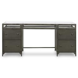 Katren Industrial Loft Grey Iron Glass Shadow Box Top 4 Drawer Executive Desk