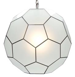 Morgan Global Bazaar Frosted Mirror Hanging Sphere Pendant - 15 Inch