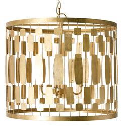 Riviera Hollywood Regency Gold Leaf 3 Light Chandelier