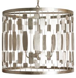 Riviera Hollywood Regency Silver Leaf 3 Light Chandelier