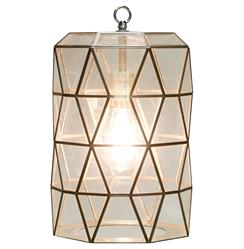 Origami Global Bazaar Clear Glass Cylinder Pendant Lantern