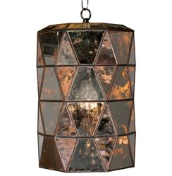 Origami Global Bazaar Antique Mirror Glass Cylinder Pendant Lantern