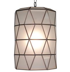 Origami Global Bazaar Frosted Glass Cylinder Pendant Lantern