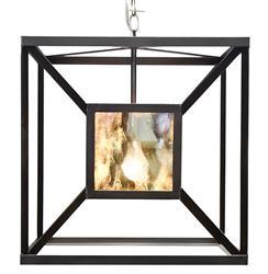 Borg Global Bazaar Antique Mirror Black  Hanging Cube Pendant