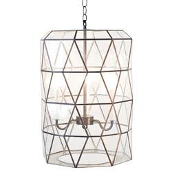 Accordion Global Bazaar Glass Clear Cylinder Pendant Lantern