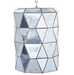 Accordion Global Bazaar Antique Mirror Glass Cylinder Pendant Lantern
