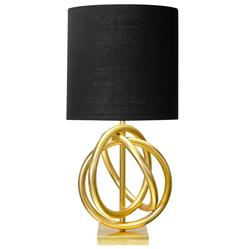 Trinity Hollywood Regency Gold Ring Black Table Lamp
