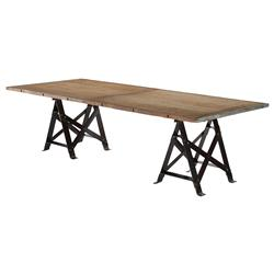 Frinier Industrial Loft Iron Reclaimed Wood Large Dining Table - 107 Inch