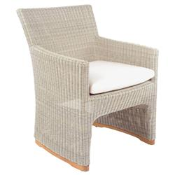 Kingsley Bate Westport Coastal Beige Woven Rattan Outdoor Dining Arm Chair