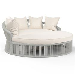 Sunset West Miami Coastal Sunbrella Silver Grey Aluminum Round Outdoor Daybed
