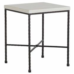 Summer Classics Italia Industrial White Top Black Iron Outdoor End Table