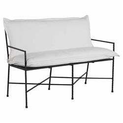 Summer Classics Italia Industrial White Performance Cushion Iron Outdoor Bench