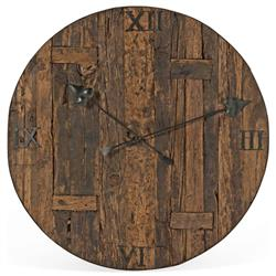 Milton Rustic Lodge Reclaimed Railroad Ties Iron Clock Face | BOBO-BI-2609
